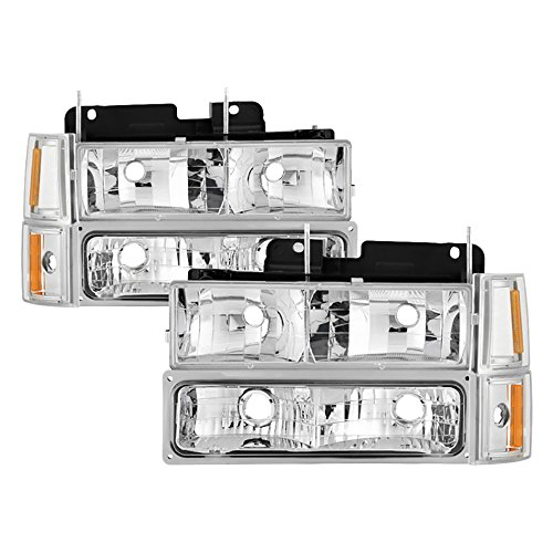 VIPMOTOZ For 1994-1998 GMC C/K Pickup Truck Suburban Yukon Headlights - Metallic Chrome Housing, Driver and Passenger Side (C/k Truck Headlight)