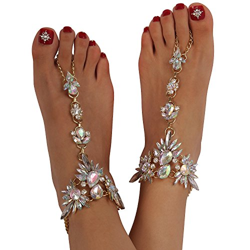 Holylove Foot Jewelry for Women Barefoot Sandals Beach Crystal Anklets Chains Wedding Vocation 1 Pair with Gift Box – HLAB007 Crystal