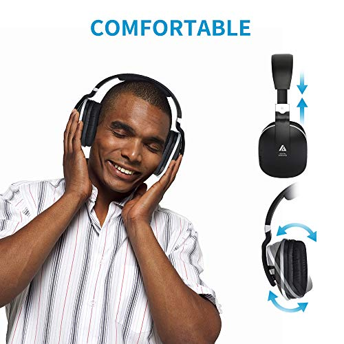 Wireless Headphones for TV Watching with Optical, ARTISTE ADH300 2.4GHz Digital Wireless TV Headphones, 100ft Distance Rechargeable for TV/PC/Phone (Black with Optical) by ARTISTE (Image #4)