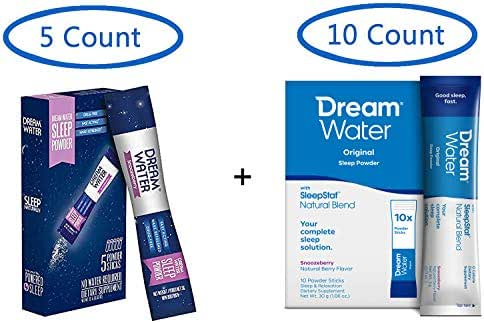Dream Water Natural Sleep Aid Travel Pack Powder, 5 Count + 10 Count (15 Count Total) - GABA, MELATONIN, 5-HTP, 2.5oz Shot- Top Rated - Non-Habit Forming
