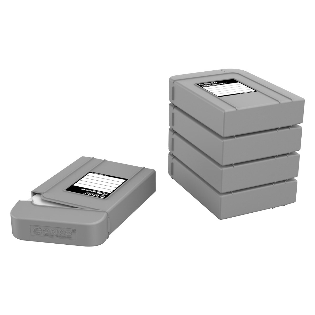 ORICO 3.5'' Hard Drive Case Protective Box Storage Case Organizational Box 5 Pack- Grey