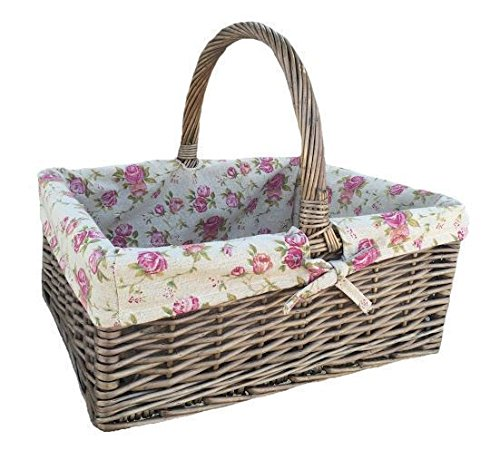Antique Wash Rectangular Shopper With Garden Rose Lining Wicker Basket