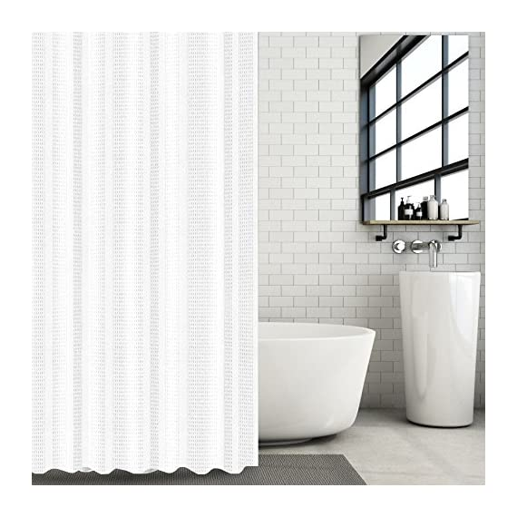 """Hermosa Collection White Waffle Weave Shower Curtain 230 GSM Heavy Fabric Hotel Quality Textured Design Water Repellant 72 x 72 Inches - Classic White Shower Curtain – Heavy fabric, beautiful, and perfect for modern bathrooms, these curtains help brighten up your space with stunning style and originality. Waffle Stripped Textured Fabric – Crafted with 100% polyester these fabric curtains provide spa and hotel-quality comfort with a blend that pairs well with other room decor. Long, Wide Coverage – At 72"""" x 72"""" on size, these textured shower curtains pair perfectly with clear, plastic inner liners to cover the size of most standard bathtubs. - shower-curtains, bathroom-linens, bathroom - 51EcH7f8MEL. SS570  -"""