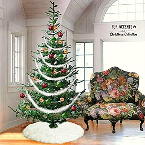 fur accents christmas tree garland swag skirt shaggy shag faux fur scarf white - Christmas Decorations Staircase Hand Railing