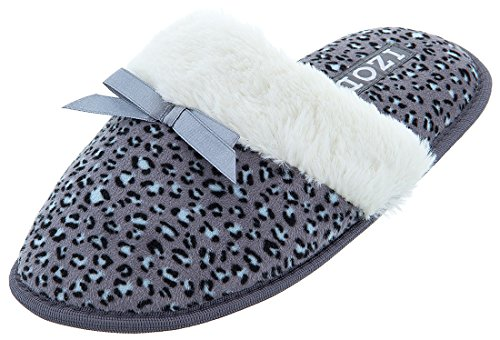Izod Womens Leopard Slippers Grey