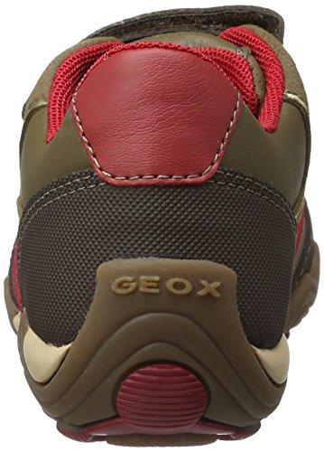 Geox Jr Arno a, Zapatillas Niños Marrón (Dk Brown/redc0975)