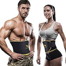OMorc Professional Waist Trimmer Belt, Adjustable Weight Loss Belt with A Free Measuring Tape, Sweat Sauna Belt, Waist Trainer Slimming Belt for Fat Burning