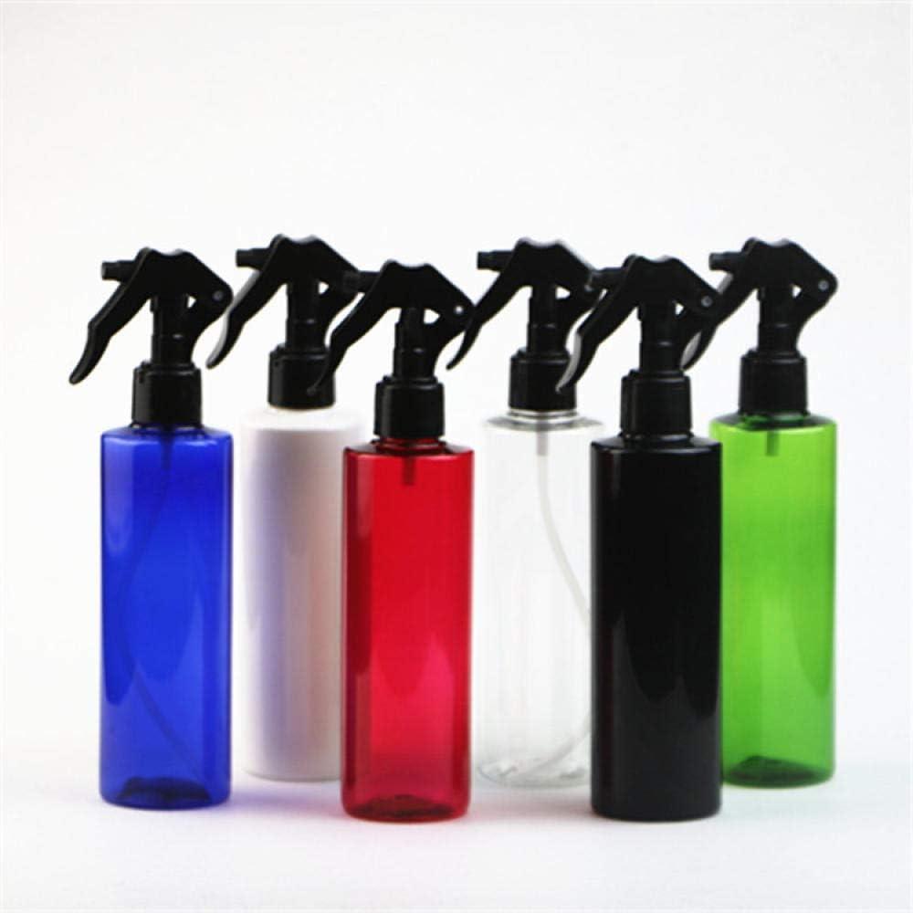 Regadera de botón de mano PET de hombro plano, limpieza de automóviles, repelente de mosquitos, botella de spray vacía de 250 ml para viajes, belleza, limpieza, jardinería-Boquilla azul + blanca