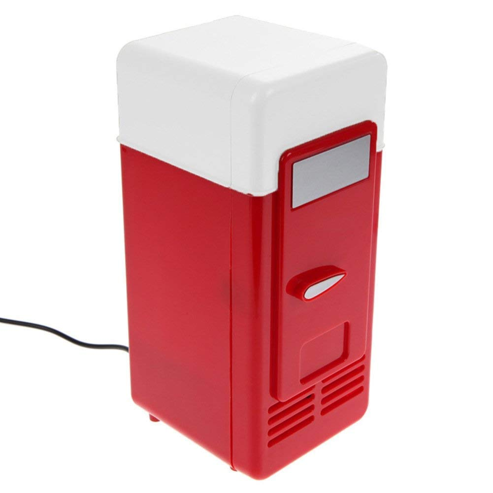 vinmax Mini USB Fridge Portable Beer Beverage Drink Cans Cooler & Warmer Mini Refrigerator for Car Laptop PC Computer Office Home Travel Picnic Boat(Red) by vinmax (Image #2)