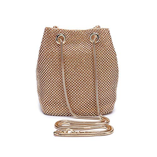 - Peng Fang Evening Bags Clutches Shoulder Bucket Bag for Women Crystal Rhinestone Small Handbag Party Prom Wedding Purse(Gold)