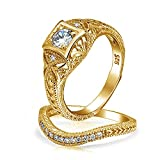 Antique Style Gold Plated CZ Waved Engagement Wedding Ring Set