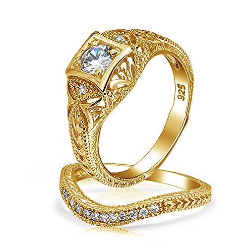 Bling Jewelry Antique Style Gold Plated CZ Waved Engagement Wedding Ring Set