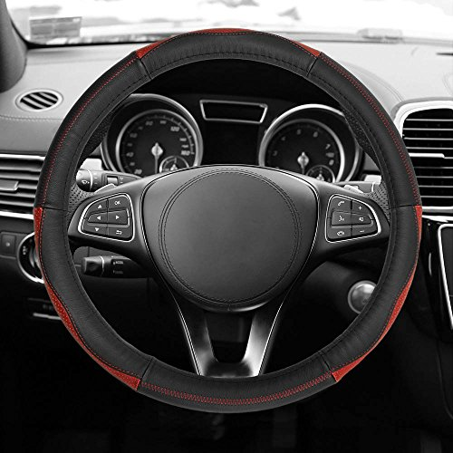 FH Group FH2007 Sleek & Sporty Genuine Leather Steering Wheel Cover, Red/Black Color- Fit Most Car, Truck, SUV, or Van]()