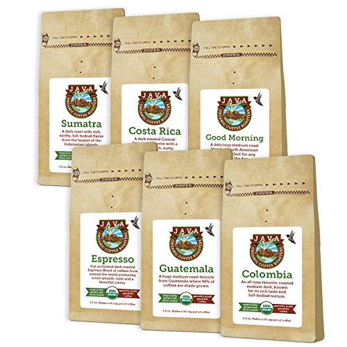 Java Planet - Sample Pack of USDA Organic Whole Coffee Beans, Arabica Gourmet Specialty Grade A Coffee packaged in six 3.2 oz bags