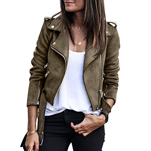 Veste caf Manteau Blouson Cool Femmes Demiawaking Slim Courte Tops Casual Fabric Printemps Suede Outwear Outwear BS1B6q
