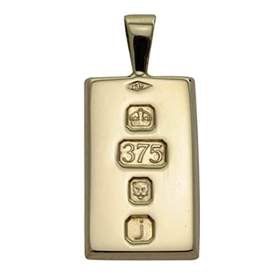 Solid 9ct Yellow Gold Small Ingot Pendant With Custom Hallmark 20mm x 10mm In Gift Box 4HFdDbzS0