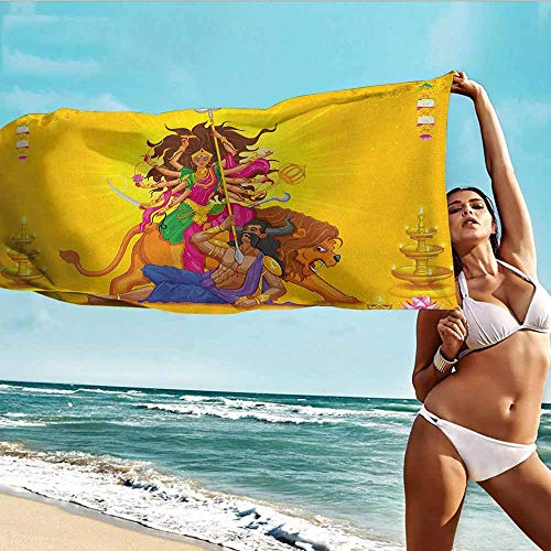 Antonia Reed Personalized Beach Towel Ethnic,Traditional Celebration Candles Peonies Lotus Flower Tribal Ethnicity Illustration,Multicolor,Bath Towel Personality Soft and Comfortable 28