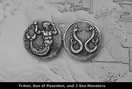 Golden Artifacts Triton and Sea Monsters, Son of Poseidon, Messinger of The Big Sea, Percy Jackson Teen Gift, Greek Coins, Greek Mythology (14-S)