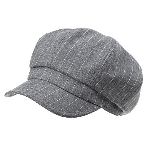 Packable Visor Beret Newsboy Cap for Women Ladies Summer Cotton Linen Gatsby Stripe Adjustable Dark Gray -
