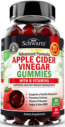 Vegan Apple Cider Vinegar Gummies with The Mother & B Vitamins - for Digestive & Immune Support - Promotes Natural Energy Boost - 90 ACV Gummies for Women & Men - 1 ACV Gummy Equals 1 Full Serving