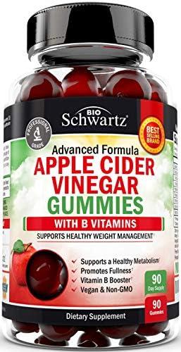 Vegan Apple Cider Vinegar Gummies with The Mother & B Vitamins – for Digestive & Immune Support – Promotes Natural Energy Boost – 90 ACV Gummies for Women & Men – 1 ACV Gummy Equals 1 Full Serving
