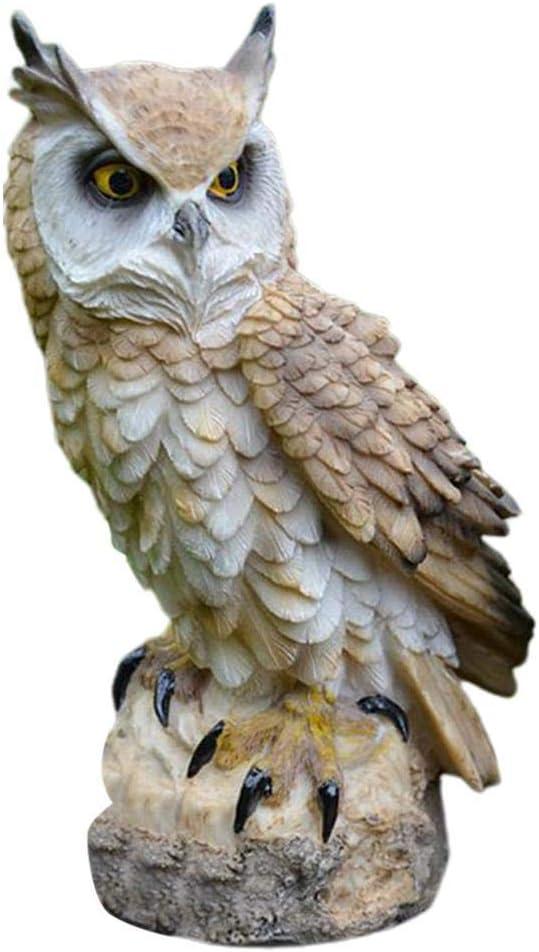 xiaolang 1Pcs Creative Owl Resin Garden Figurine Ornament, Fake Hawk Decoy, Realistic Garden Scarecrow for Scare Bird, Protect Gardens, Home and Garden Decor