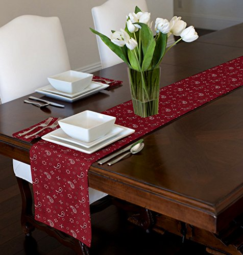 (A LuxeHome Red and White Bandana Country Western 4th of July Patriotic Paisley Print Table Runner Mat Topper 12