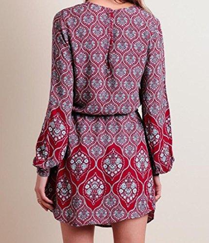 Confortables Femmes Mince Motif Tribal Manches Évêque Haute Robe De Soirée Taille Comme Image