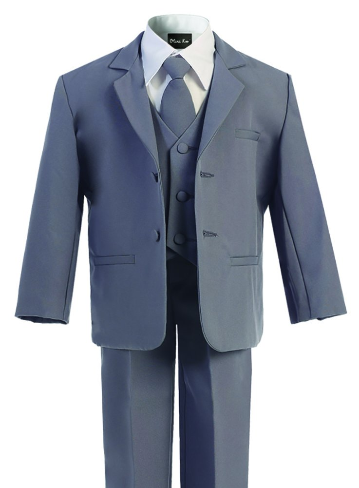 OLIVIA KOO Boys Classic Suit Set with Cloth Cover Buttons 10 Darkgrey