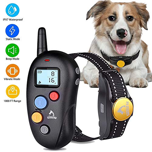 Gulyan Dog Training Collar for Dogs - 100% Waterproof Barking Collar with Beep Vibration Shock E-Collar Shock Collar for Small Medium Large Dogs with Remote