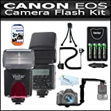 Flash Kit For Canon EOS Rebel T2i T3i, 600D, T3, Digital SLR Camera Includes Vivitar DF-293 TTL LCD Bounce Zoom Swivel DSLR AF Flash w/LCD Display Includes Reflecting Plate And Wide Angle Flash Diffuser and E-TTL / E-TTL II Off-Camera Flash Sync Cord + Bu