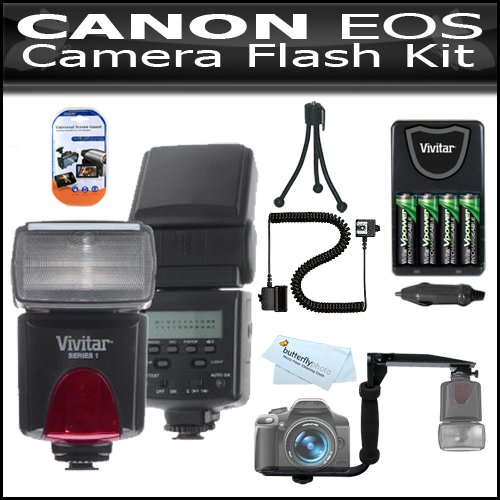 Flash Kit For Canon EOS Rebel T2i T3i, 600D, T3, Digital SLR Camera Includes Vivitar DF-293 TTL LCD Bounce Zoom Swivel DSLR AF Flash w/LCD Display Includes Reflecting Plate And Wide Angle Flash Diffuser and E-TTL / E-TTL II Off-Camera Flash Sync Cord + Bu by ButterflyPhoto