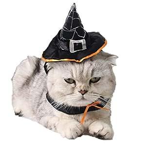 Sombrero de Mascota, Legendog Sombrero de Bruja de Mascotas Sombrero Ajustable de Bruja de Halloween Accesorios de Vestuario para Gatos y Perros