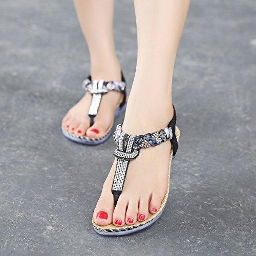 Flammi Dames Bohemian Strass String-sandalen In Sandalen, Zomer Stijl, Platte Sandalen Zwart