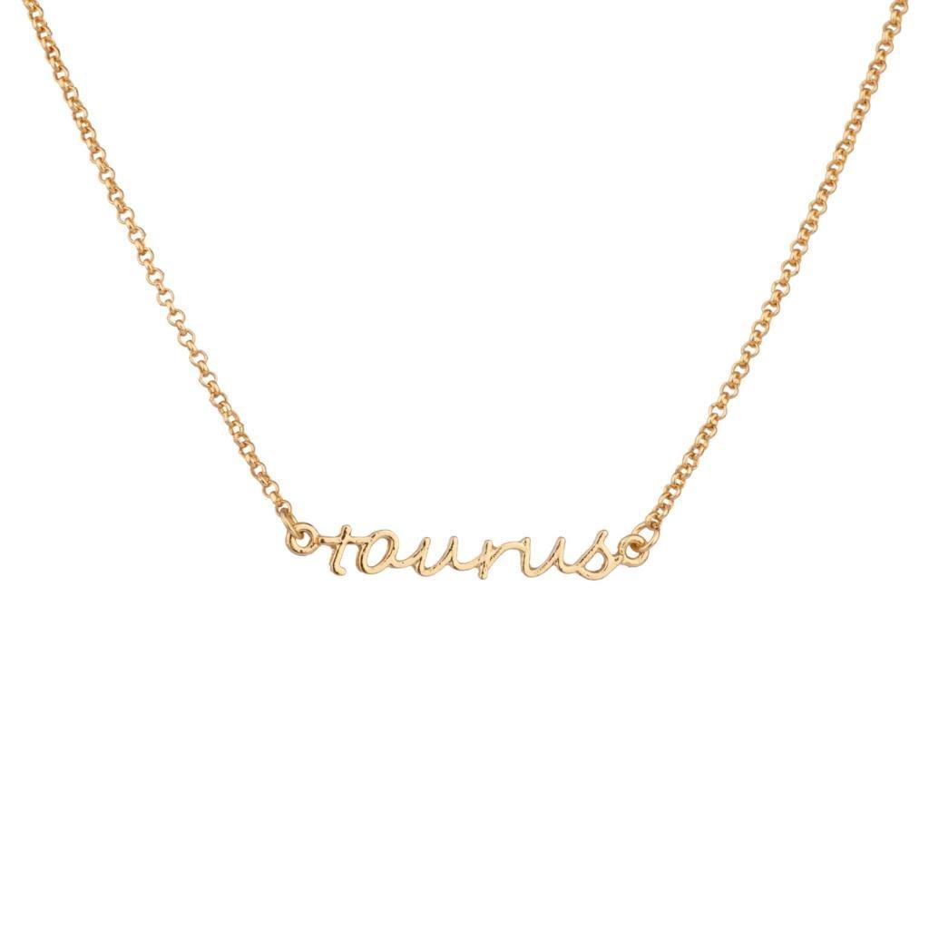 LUX ACCESSORIES Taurus Bull Horoscope Zodiac Word Pendant Necklace