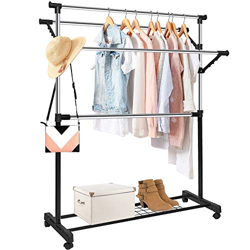 Clothing Garment Rack Adjustable Rolling Commercial Grade Heavy Duty Clothing Steel Extendable Hanger Drying Rack Organizer with 16 Hanger Holes Storage Shelf with Wheels for Boxes Shoes ()