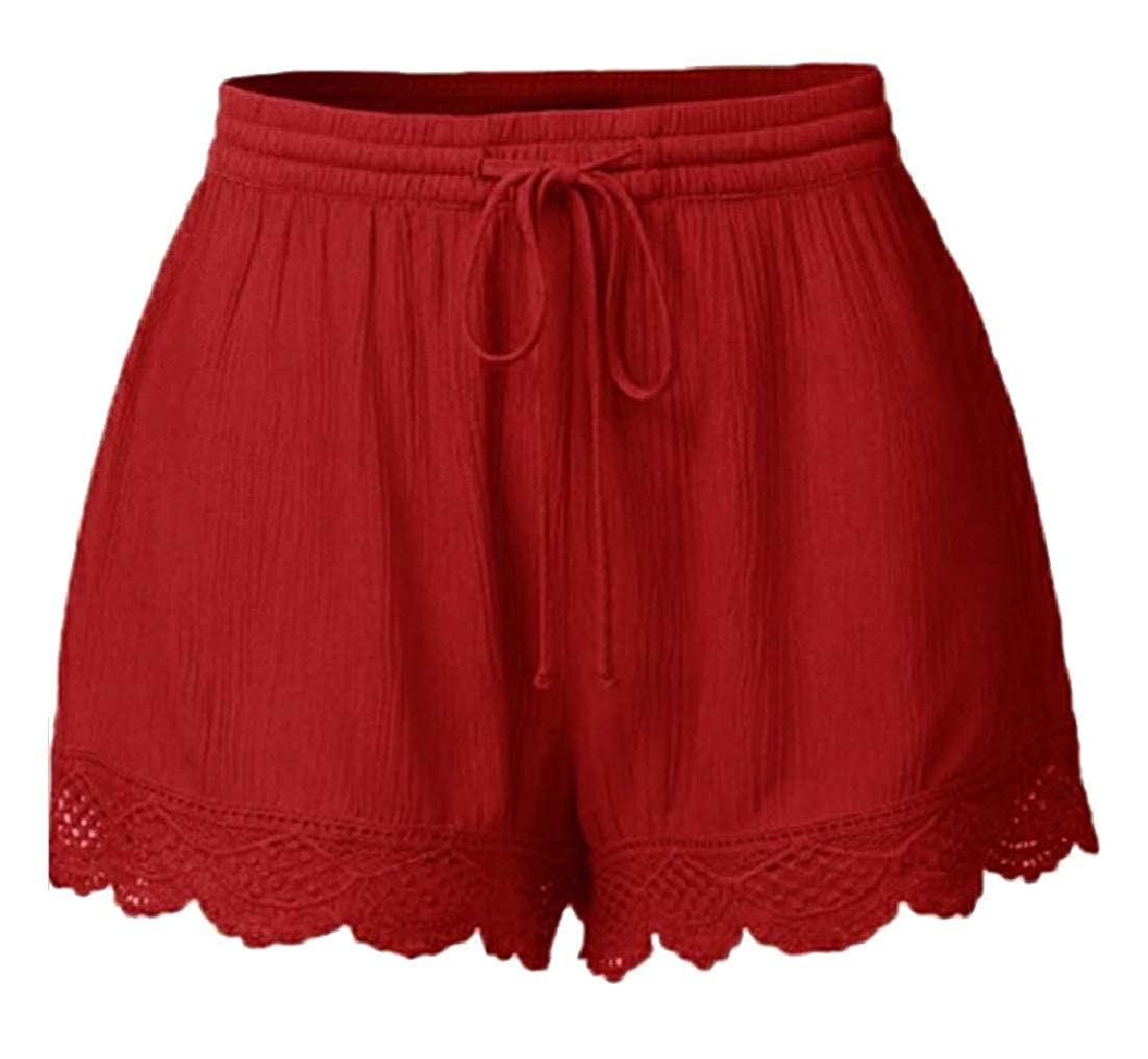 AngelSpace Women Pure Colour Elastic Waist Cozy Summer Pants Bermuda Shorts