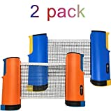 JP WinLook Ping Pong Net - 2 Pack Retractable Table Tennis Nets Post Set Replacement, Adjustable Any Table Anywhere, Portable Holder Cover Case Bag, Indoor Outdoor Game Accessories, Bracket Clamps