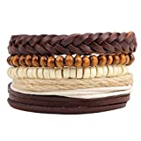 Winter's Secret Religious Five Combinations Hand Braided Leather Multi Strand Brown Beaded Wrap Bracelet