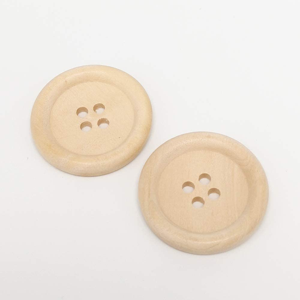 15mm Chenkou Craft 30pcs 30mm 1 1//4 Round Natural Wood Buttons 4 Holes Craft Sewing Button