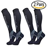 Cheap Compression Socks For Women/Men 2 Pairs Best for Running, Athletic, Edema,Travel, Maternity (Black S/M(Men 6-9 Women 6-10))