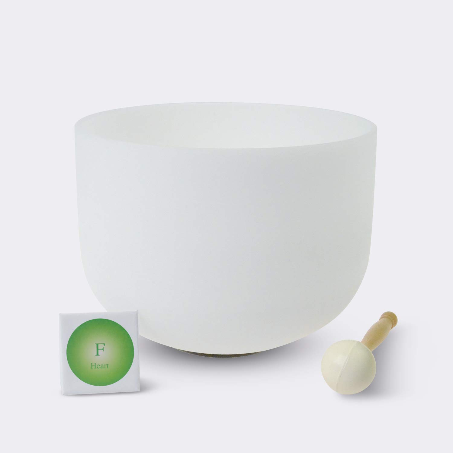 TOPFUND Singing Bowls Perfect Pitch F Note Crystal Singing Bowl Heart Chakra 12 inch (O-Ring and rubber mallet included)