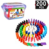 Liberty Imports 200-Piece Bucket of Wooden Domino Blocks Set   100% Real Authentic Basswood Standard Dominoes   Kids Racing Toy Game, Building and Stacking Toys