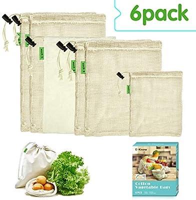 E-Know - Bolsa para Verduras (6 Unidades, algodón Natural ...