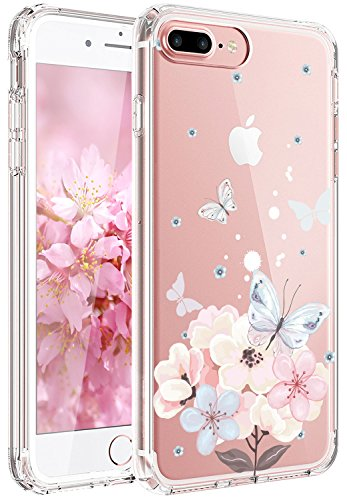 Pink Butterfly Phone - JAHOLAN iPhone 7 Plus Case, iPhone 8 Plus Case Girl Floral Clear TPU Soft Slim Flexible Silicone Cover Phone Case iPhone 7 Plus iPhone 8 Plus - Pink Butterfly Flower