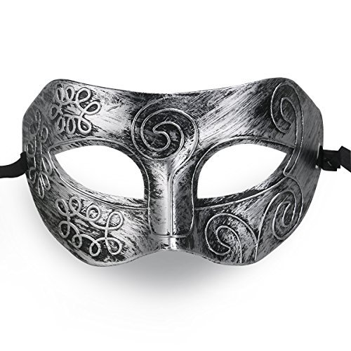 OULII Cool Men Fighter Masquerade Face Mask for Ball Party/ Halloween (Silver) ()