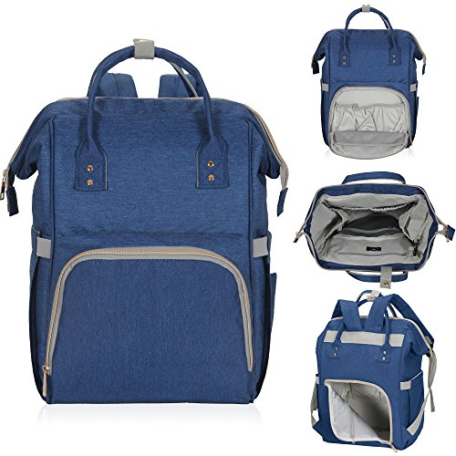 Hynes Eagle Water Resistant Diaper Backpack Multipurpose Baby Travel Bag for Dad or Mom Navy Blue