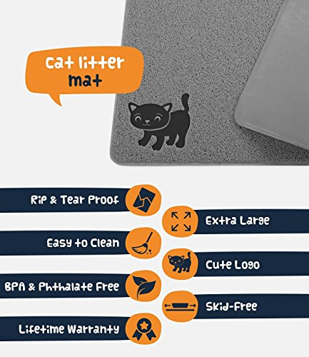 "Smiling Paws Pets Premium Cat Litter Mat, BPA Free, XL Size 35'' x23.5"", Non-Slip - Tear & Scratch Proof, Easy to Clean Kitty Litter Catcher Scatter Control (Extra Large Gray) by Smiling Paws Pets (Image #5)"