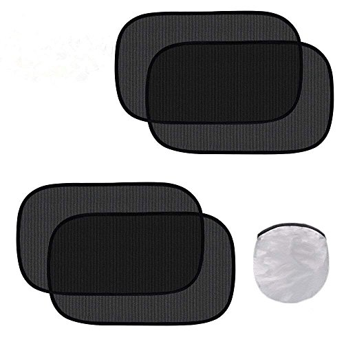 Fullive Car Window Shade - Cling Sunshade for Car Windows - (4 Pack) Side Window Sunshades Blocks Glare and UV Rays 20 x 12 Sun Protector for Baby Kids and Pets (Black)