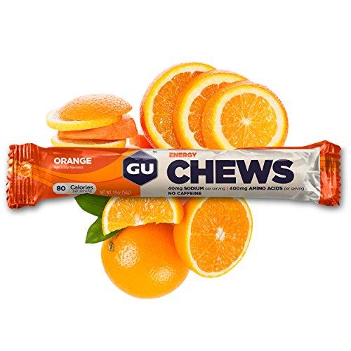GU Energy Chews Double-Serving Sleeve, Orange, 18-Count
